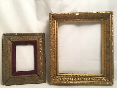 Two Small Antique 19th Century Rectangular Gilt Picture Framed