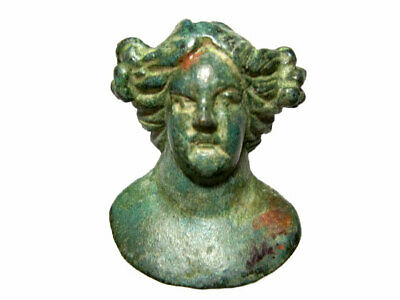 Roman Period Bronze Bust Bacchus - Dionysus Figurine, Top Condition+++