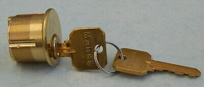 """Marks Mortise Cylinder 1"""" 5 Pin Arrow Keyway 605 Lightly Used"""