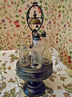 Victorian Cruet Castor set Bell 1880's Middletown Silverplated Carousel w/6pc