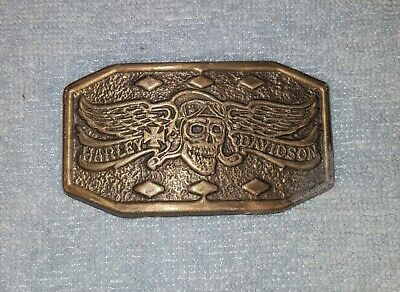 Vintage Harley Davidson Belt Buckle Winged Flying Skull Wings Free Shipping