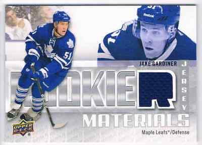 2011-12 Upper Deck Rookie Materials Jake Gardiner Jersey 1 Color Toronto Maple