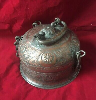 Antique Persian Copper Large copper Soup/bean Pot Islamic Ottoman Heavy Cauldron