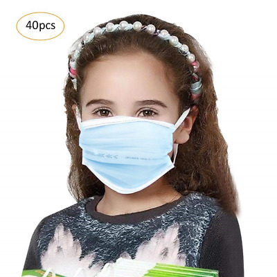 Per 40pcs children's disposable Ear Loop Face Mask 4-layers Dust Filter for Kids