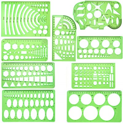 QISF 9 Pieces Geometric Drawing Templates Measuring Rulers Plastic Draft Rulers