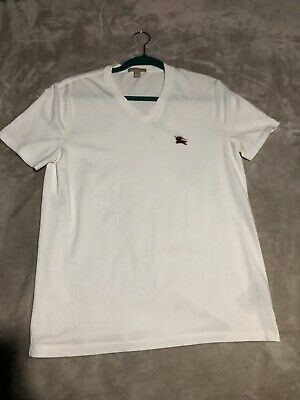 dd7089db BURBERRY BRIT WHITE Cotton Jersey V-neck T-shirt SZ Medium - $20.50 ...