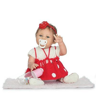 """22"""" Full Body Silicone Bebe Reborn Baby Girl Doll Likelife Newborn Toys Gifts US"""