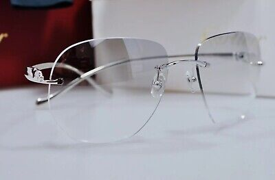 4a5aaf4c6d1b NEW CARTIER Panthere Rimless Eyeglasses Platinum Occhiali Frame Brille  Lunettes