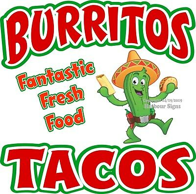 Burritos Tacos DECAL (Choose Your Size) Mexican Food Concession Food Sticker