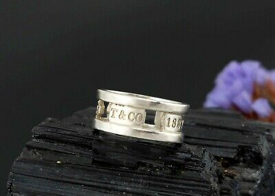 Vtg Sterling Silver T&CO Tiffany & Co 1837 Cut Out 925 Band Ring sz 8.25