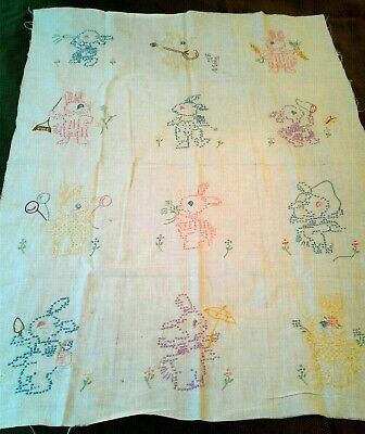 """12 Embroidered Bunnies Quilt Block Handmade pastel cross stitch Easter bunny 8"""""""
