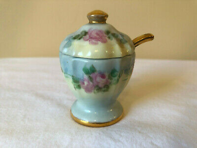 Antique Victorian Hand Painted Mustard Jar With Lid & Spoon
