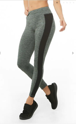 964a6e569aa82d FOREVER 21 Active Marled Ankle Biter Leggings Black Hunter Green Tight M  Medium