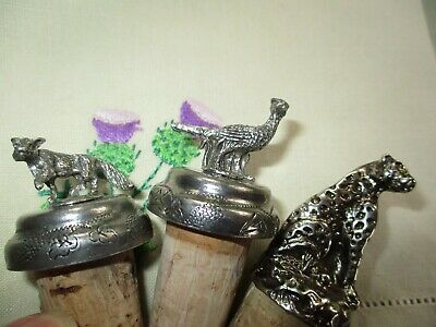 3 x Wine Bottle Stoppers Pheasant Fox and Leopard.