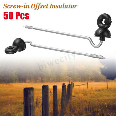 50PCS Screw In Ring Insulators Electric Fence Wood Timber Post Tape Cord
