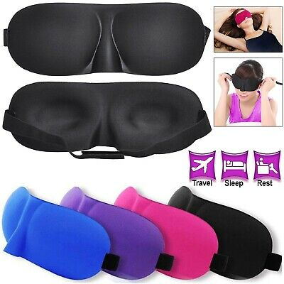 3D Soft Padded Blindfold Blackout Eye Mask Travel Rest Sleep Aid Shade Cover.