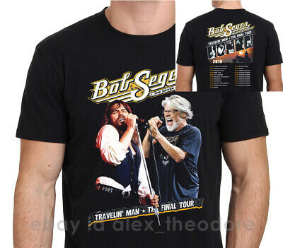 Bob Seger Travelin Man Final Tour 2019 With Dates Men's Black T-Shirt Size S-XXL