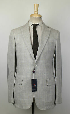 New PAL ZILERI CONCEPT Linen Blend W/ Leather Sport Coat 60/50 R Drop 8 $1150