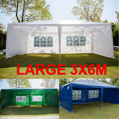 Large 3x6m Gazebo Marquee Canopy Outdoor Patio Garden Wedding Party Tent 4 Sides