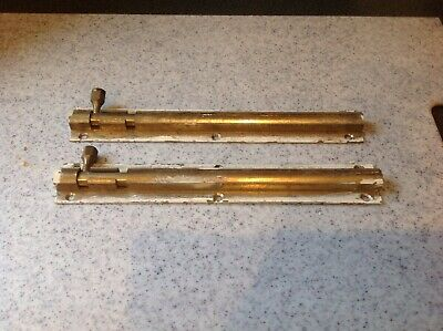"Pair Of Vintage Solid Brass Bolts, (Door/cupboard)  8"" Long"