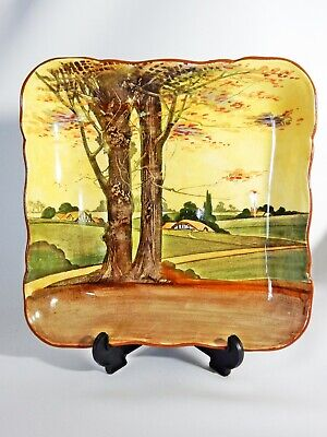 Antique Art Deco Royal Doulton Woodlands Square Serving Bowl Dish Plate D4585