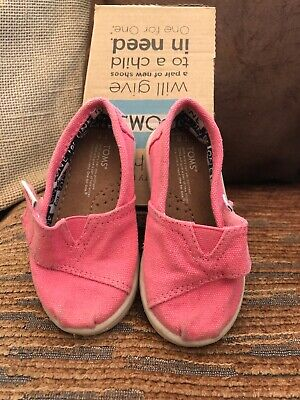 Toms Baby Girls Childrens Kids Pink Pumps Espadrilles Trainers UK Size 4