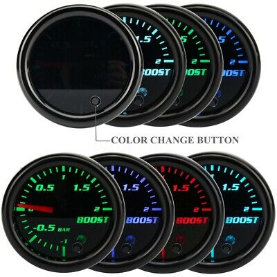 52mm Universal 7 Colore Led Pressione Manometro Turbo -1~2 Bar Auto Tuning