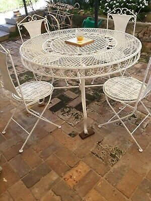 French Wrought Iron Vintage Table 4 Chairs Gorgeous