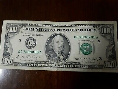 1990 US $100 note in good condition, Franklin.