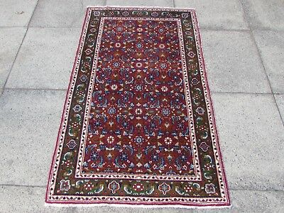 Old Hand Made Traditional Turkish Rugs Oriental Wool Red Green Rug 154x94cm