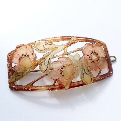 French, Art nouveau, circa 1900, Carved Horn, Cherry Blossom, Hair Barrette.