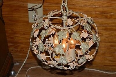 Vtg Shabby Chic Orig White w/Green Speckles Hanging Lamp ''MELOLITE CORP'' Works