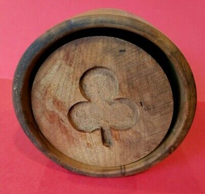 Original Vintage Carved Clover Butter Mold Press Stamp Wood Primitive Folk Art