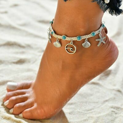 Boho Starfish Turquoise Beads Sea Shell Anklet Beach Chain Sandal Ankle Bracelet