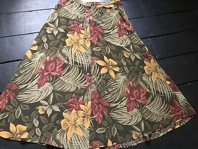 7a6ce72238 Vintage 80's silk tropical print floral flowers buttoned midi flare skirt