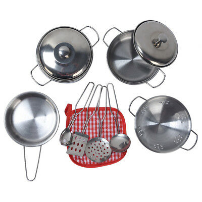 11pcs Stainless Steel Pots And Pans Cookware Pretend Kitchen Play