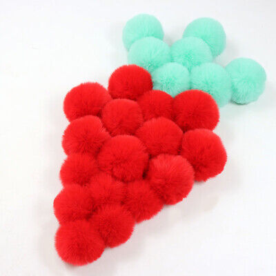 2 PCS DIY Pretty Small PomPom Fur 6cm Faux Rex Fur Pom Poms For Hats 12 Colors