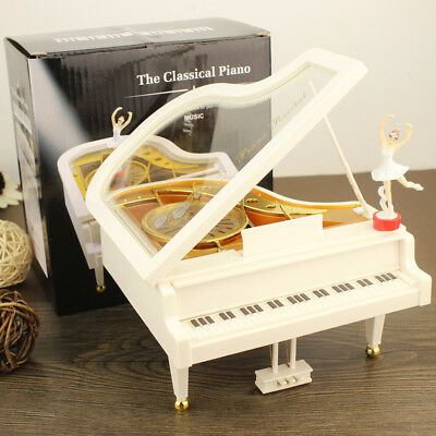 White Piano Shape Music Box with Removable Dancer Ballerina Musical Toy Collect