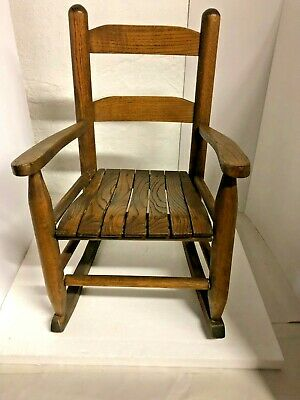 Vintage Child's Wooden Brown Rocking Chair Toddler Slatted Rustic Primitive