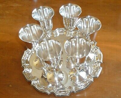 "Six Grenadier 7"" Silver Plated Goblets And (Tray Sheffield England)"
