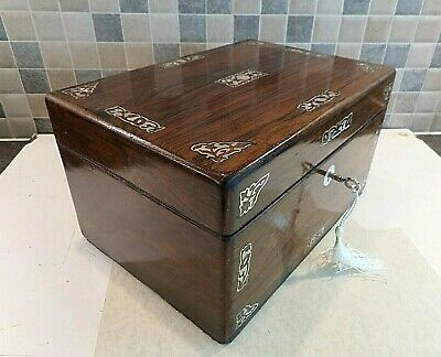 EARLY 19thC INLAID ROSEWOOD BOX WITH SECRET DRAWER- RELINED INTERIOR- LOCK & KEY