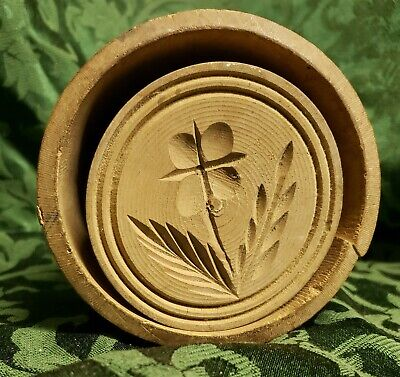 Original Antique Hand Carved Butter Mold Press Wood Primitive Folk Art Flower