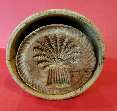 Original Antique Hand Carved Butter Mold Press Wood Primitive Folk Art Floral
