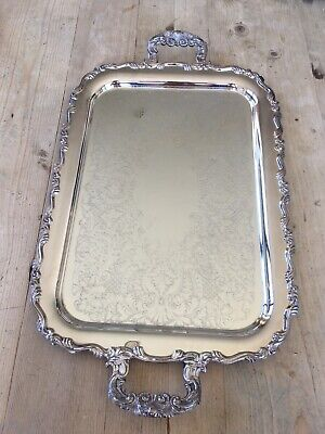 Large Silver Plated Tray With Engraved Detailing
