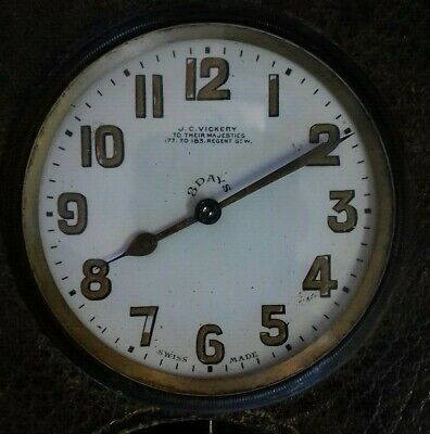 Antique Art Deco Swiss 8 Day Travel Clock marked J C Vickery possibly Brevet