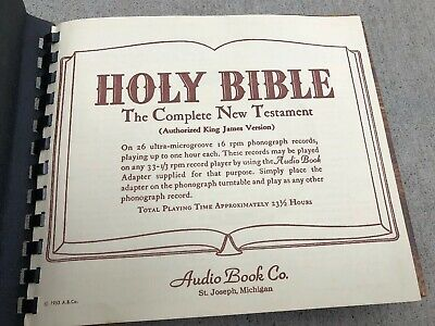 HOLY BIBLE- THE Complete New Testament (1953) Audio Book Co