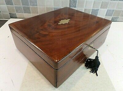 Victorian Inlaid Flame Mahogany Box With Secret Drawer & Compartment- Lock & Key