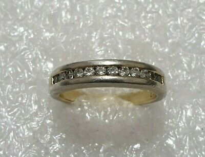 9CT Gold Clear CZ Half Eternity ring Solid Silver 925 vintage Ring Size M~M1/2