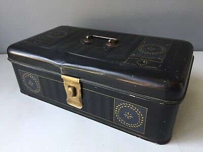 Attractive  Antique Metal Deed Box With Painted Detail And Brass Hasp & Staple