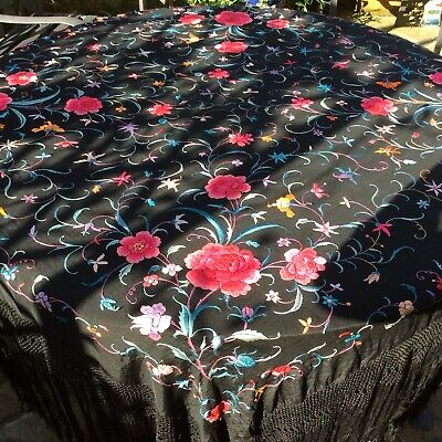 Vintage Antique Hand Embroidered Silk Piano Shawl